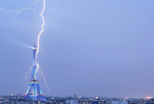 Eiffel Tower Lightning Strike