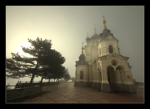 Foros Church/Fog by Lyncis