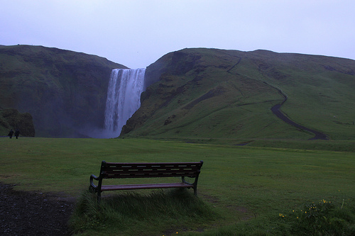 Bench at Skogarfoss, Iceland
