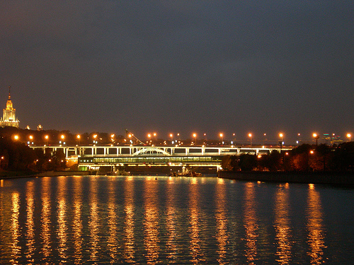 Moscow river with Metro bridge by akk rus