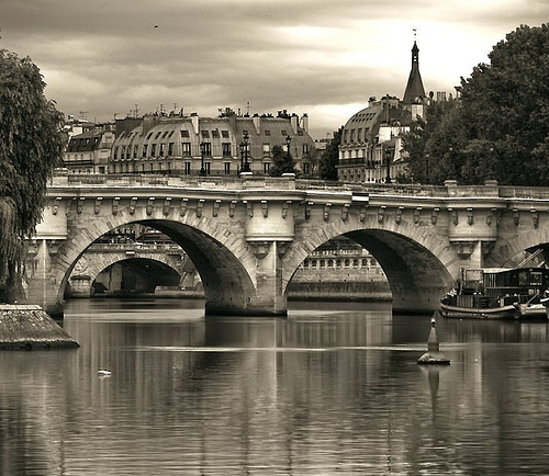 Le Pont Neuf - dark sepia by Gregory Bastien