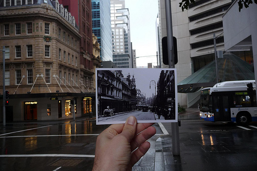 Looking into the past: King Street, Sydney c:1900/2009 by Scotticus