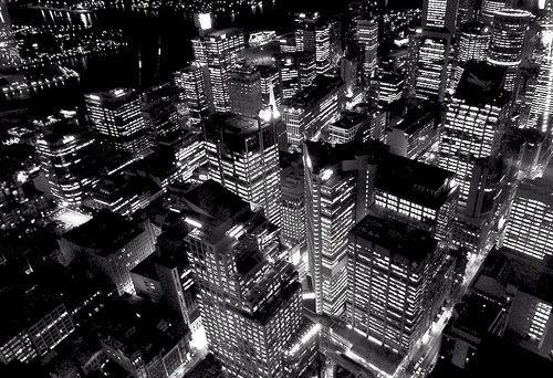 black and white city at night @ Sydney by pineapplebun
