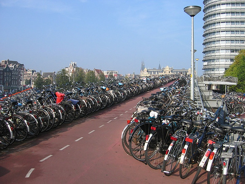 Multi-level bike parking at Amsterdam Centraal Station