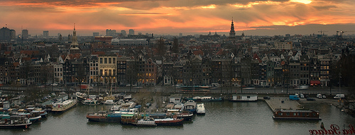 Sunset over Amsterdam