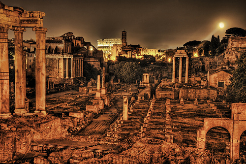 Ancient Roman Forum by Night