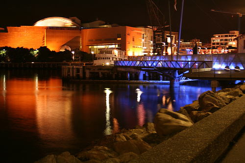 Te Papa in its blue and orange glory