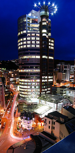 Majestic Centre and night, Wellington
