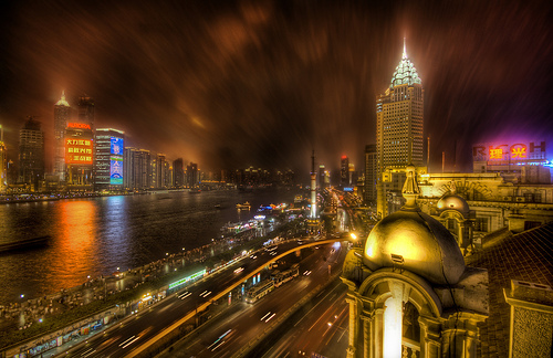 The Bund in the Rain