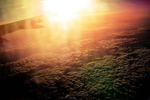 Morning sun from a plane window