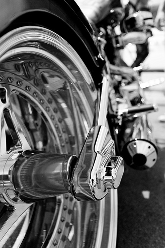 bw motorcycle by