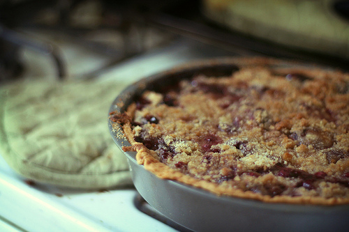 cherry pie with crumble topping by Ginny