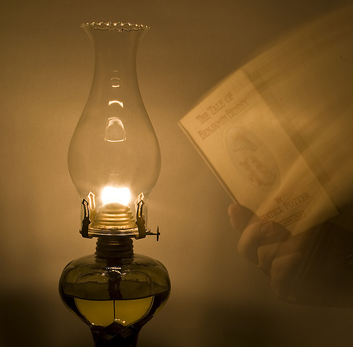 Oil Lamp & Book
