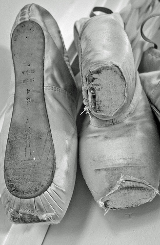 Some of my Dead Pointe Shoes