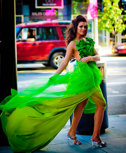 Kim's Stunning Green Dress