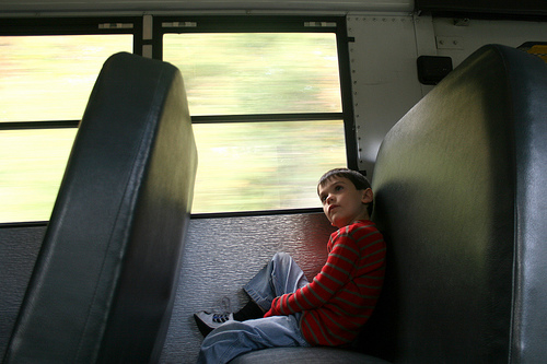 alone on the school bus