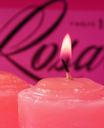 Lit Pink Candle