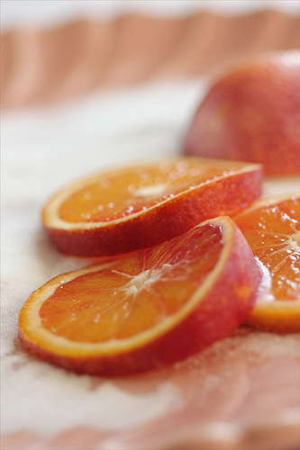 closeup of orange slices