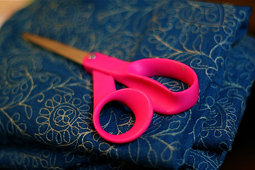 Pink Scissor and Fabric