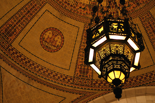 chandelier and tilework in the rotunda