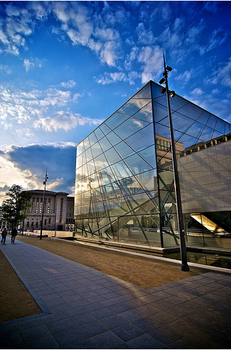 glass cube entrance