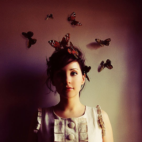 Hush - whimsical Fine Art Photograph - rich dreamy mauve portrait - butterflies