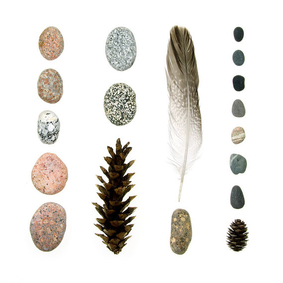 Beachcombing series No.44 - Coral Pink Granite Beach Stones and Feather
