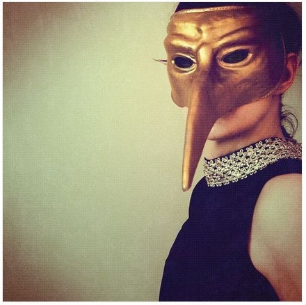 Modern Mask Portrait - Ladybird Photograph - golden sage green color vintage tones avant garde photography