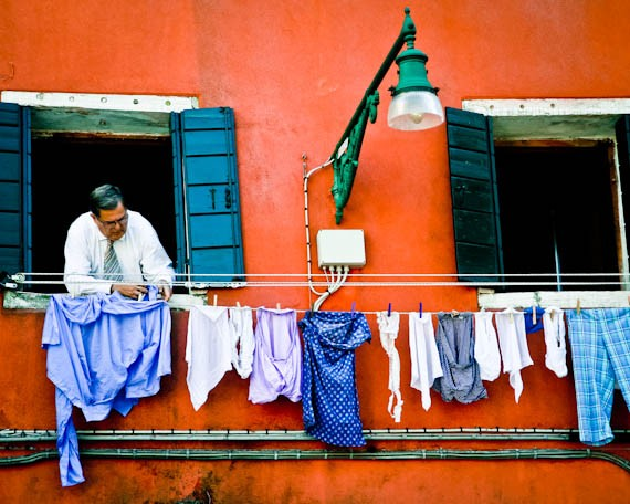 Jewish Man Hanging Laundry Venice Ghetto