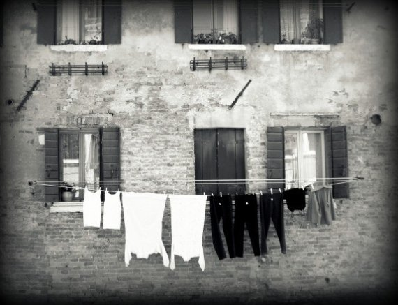 Black and White Laundry hanging clothes