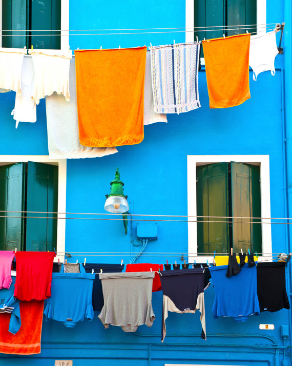 Laundry Day in Burano hanging clothes