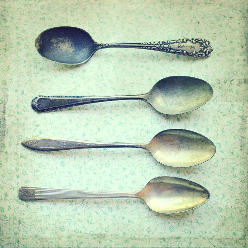 Still Life Photo pale mint sage antique vintage housewares silverware silver