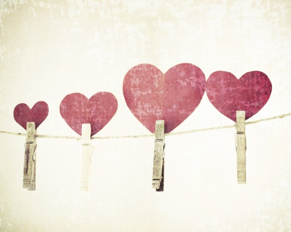 Red hearts photograph - clothes line vintage shabby chic paper love