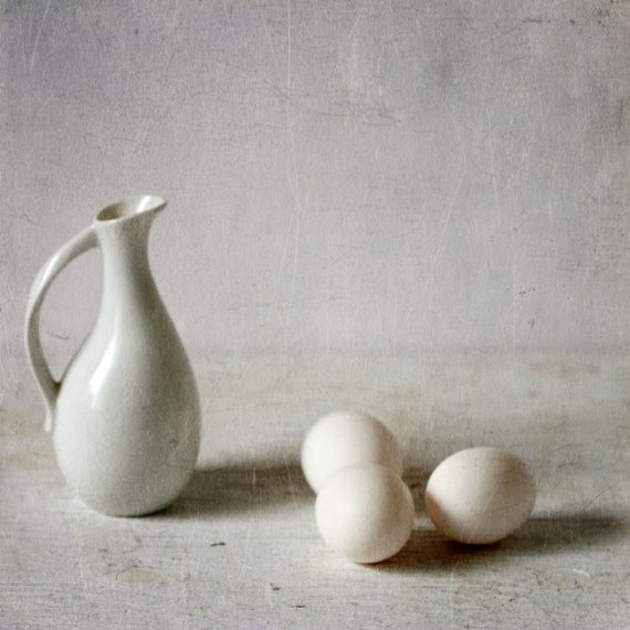 Three eggs and a pitcher