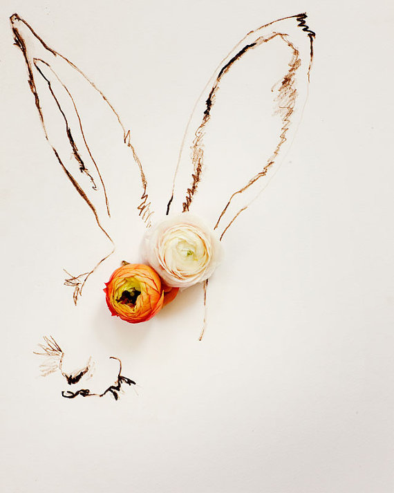rabbit flowers drawing
