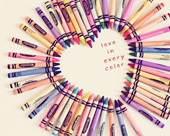 heart love crayons color rainbow