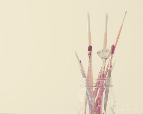 Painting - Jar of Paint Brushes