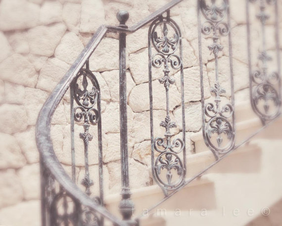 Waiting for the Moment - Stairs, Stones and Wrought Iron Hand Rail