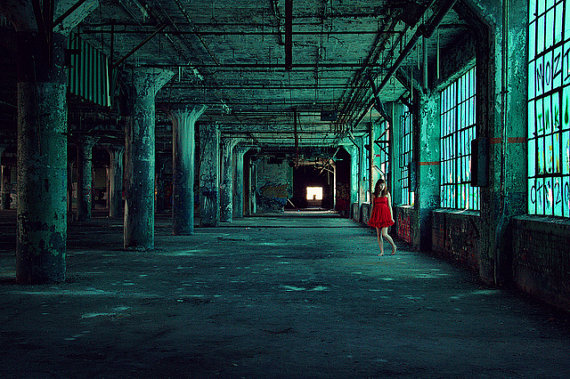 The Green Hallway abandoned urban decay factory portrait red dress