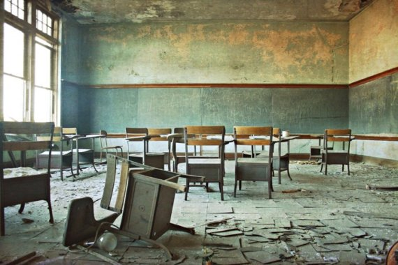 abandoned school classroom urban decay Detroit Michigan