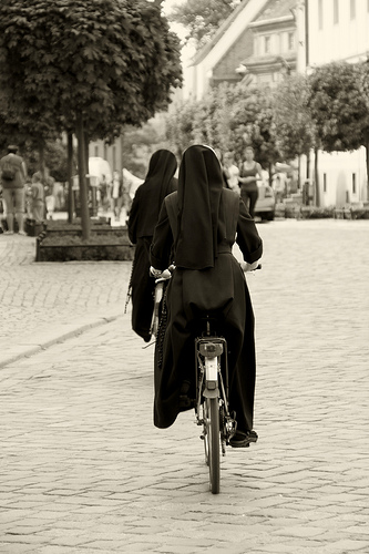 Nuns on bicycle... (B&W)