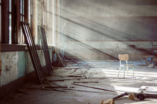 Forgotten abandoned urban decay chair school classroom Detroit