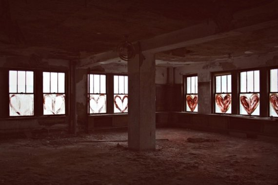 Take Back the City abandoned urban decay windows hearts red surreal Detroit Michigan