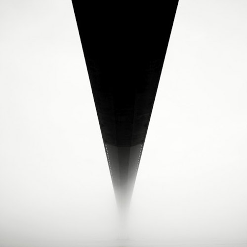 Long exposure photo of the underside of a beam, abstract minimal photo in mono square format - by Michel Rajkovic