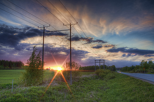sunset with powerlines