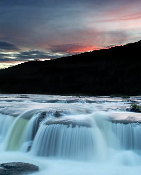 Sandstone Falls at sunset, West Virginia