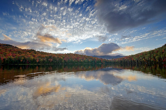 Heart Lake in Adirondack Park during fall, Upstate New York