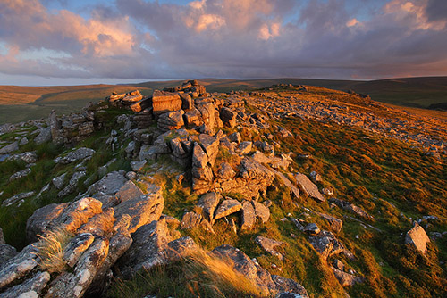 The ledges of beautiful Belstone under a stormy sky - Southwest England