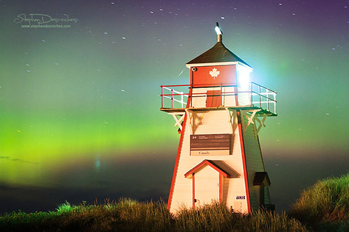 The Northern Lights captured at Covehead Lighthouse on Prince Edward Island - Canada