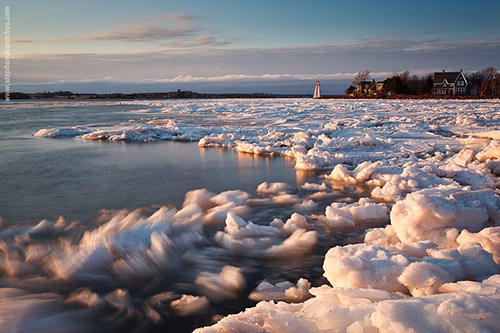 Ice along the waterfront of Victoria Park in the winter - Prince Edward Island, Canada